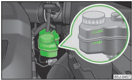 skoda fabia contr le du niveau de liquide de frein compartiment moteur contr le et appoint. Black Bedroom Furniture Sets. Home Design Ideas