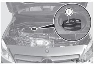 mercedes-benz classe b: huile moteur - compartiment moteur