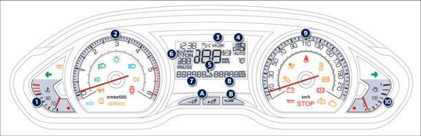 peugeot 208 combin lcd contr le de marche manuel du conducteur peugeot 208. Black Bedroom Furniture Sets. Home Design Ideas