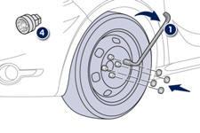 peugeot 208 montage de la roue changement d une roue informations pratiques manuel du. Black Bedroom Furniture Sets. Home Design Ideas